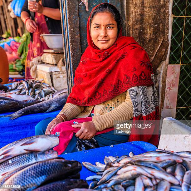 Fresh fishes for sale in Bhaktapur, near Durbar Square, Nepal