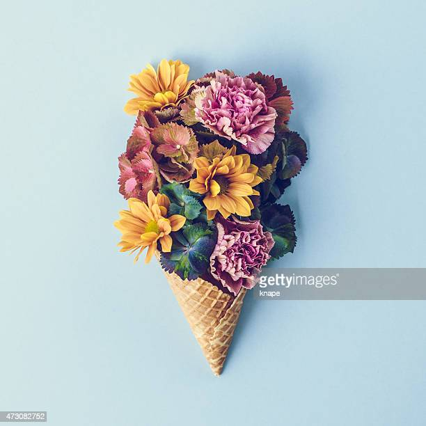 Fresh flowers in ice cream cone still life
