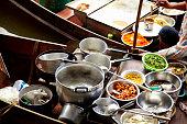 Fresh food in cafe market stall, Rachaburi, Thailand
