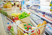 Different kinds of fresh food products in cart