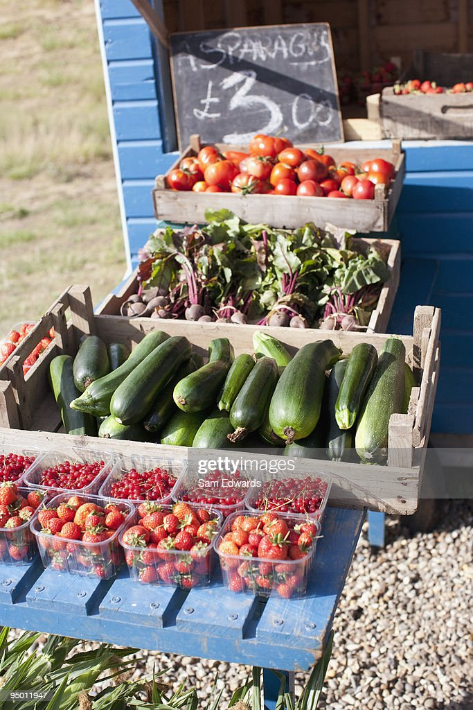 Fresh fruit and vegetables at farmers market : Stock Photo