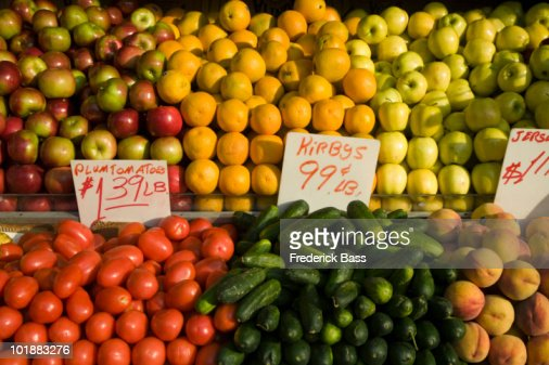 Fresh fruit and vegetables for sale at a market : Stock Photo