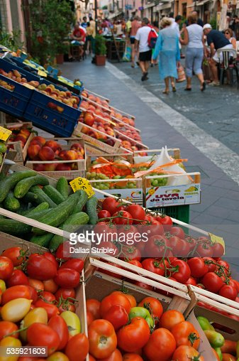 Fresh fruit and vegetables for sale in Lipari : Stock Photo