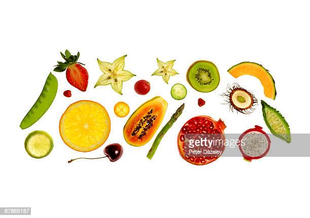 Fresh fruit and vegetables on white background.