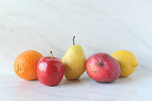 Five types of fruit in a row. Copy space.