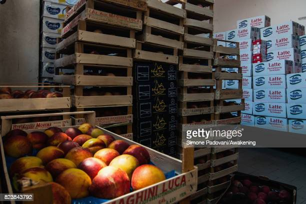 Fresh fruit is stored in preparation to feed nearly a thousand asylum seekers per day at the Hub CARA centre on July 27 2017 in Bologna Italy In an...