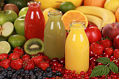 Fresh fruit juices made from red, green and orange fruits