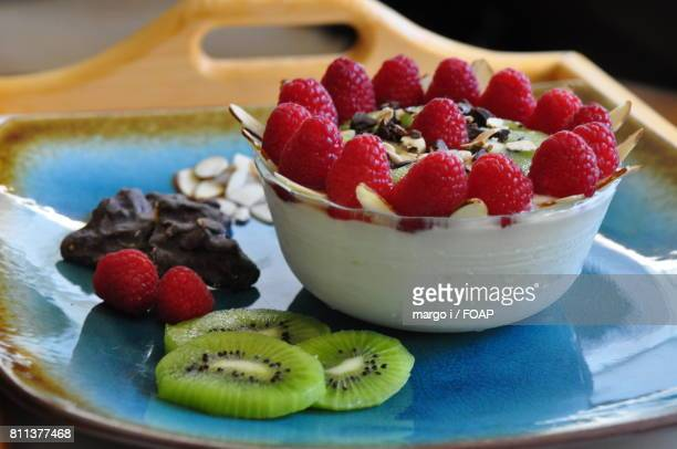 Fresh fruit smoothie with raspberry