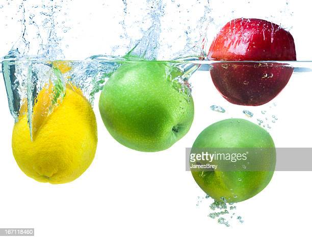 Fresh Fruit Splashes Into Cool Water