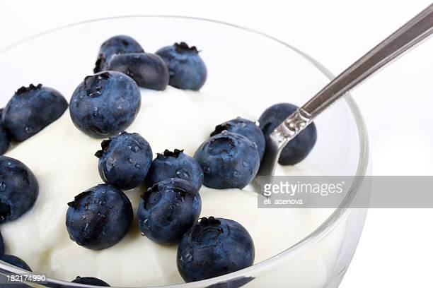 Fresh fruit yogurt with blueberries