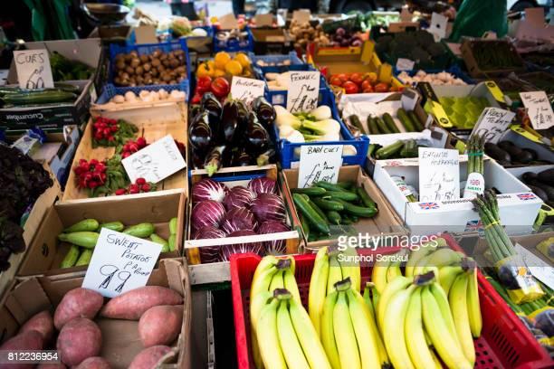 Fresh fruits and vegetable market stall at borough market