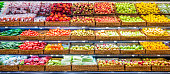 Fresh fruits and vegetables on shelf in supermarket. For healthy concept