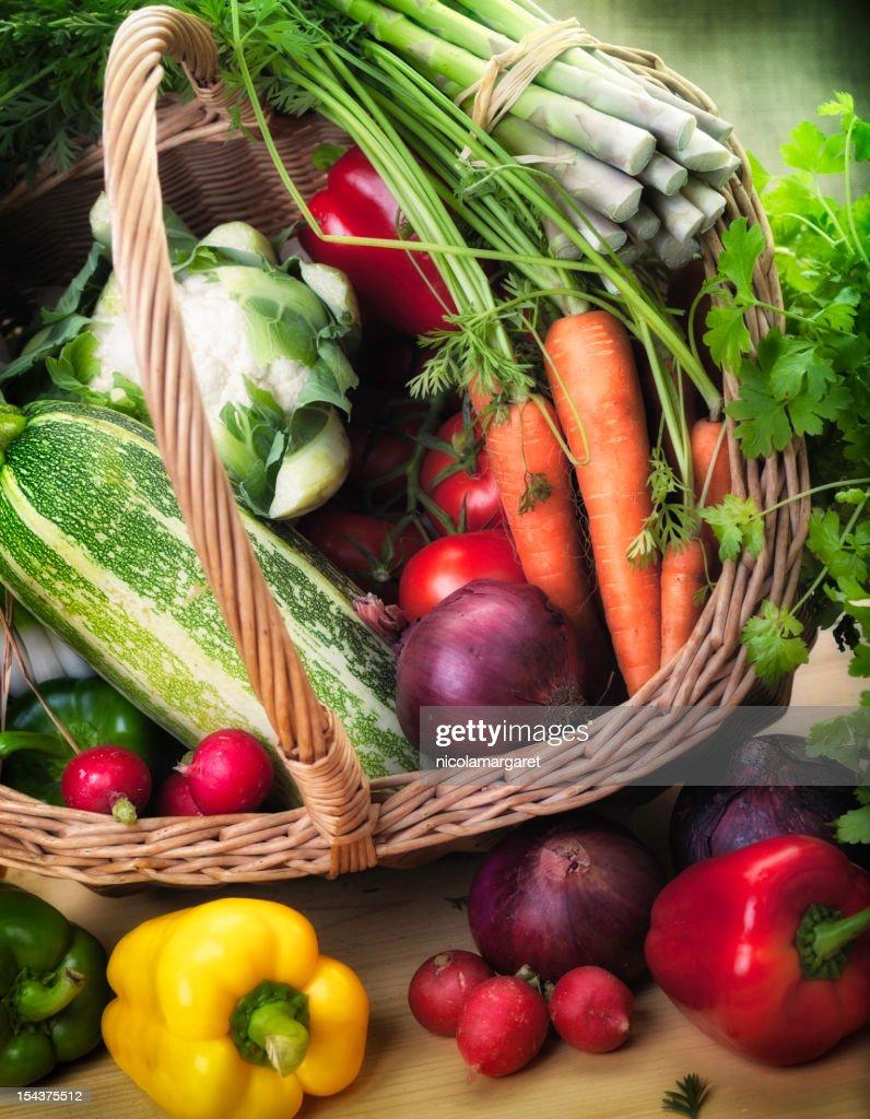Fresh Garden Produce in a basket : Stock Photo