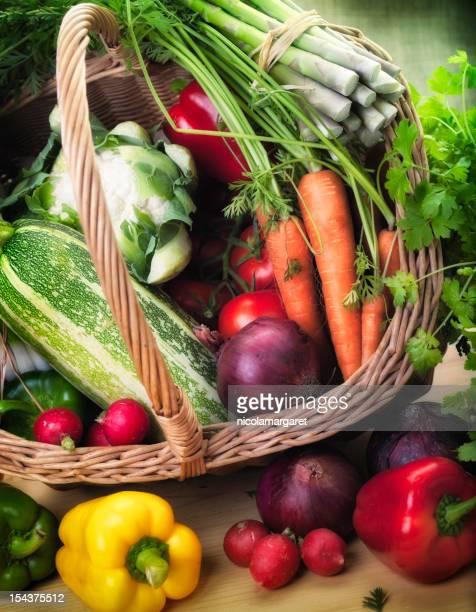 Des produits frais du jardin dans un panier