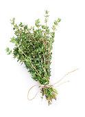 Fresh garden thyme herb. Isolated on white background