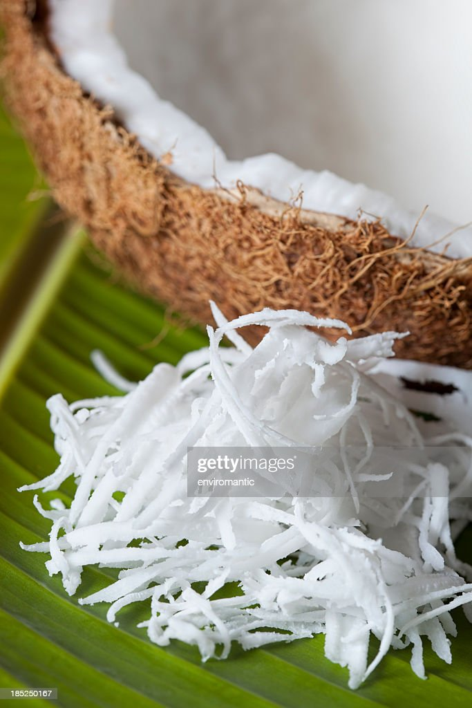 Fresh grated coconut.