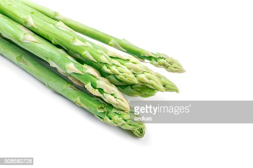 Fresh green asparagus on white : Stock Photo