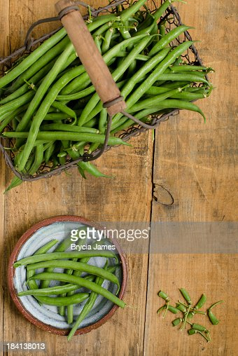 Fresh Green Beans from Above with Copy Space
