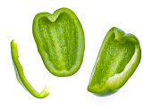 Fresh Green Bell Pepper Slices Isolated on White with a Clipping Path.