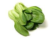 Fresh green bok choy (chinese cabbage) isolated on white background