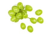 Fresh green grape isolated on white background.