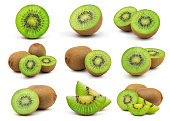 A Set of Perfect Fresh Green Kiwi Fruit Isolated on White Background in Full Depth of Field.