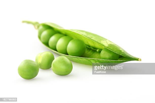A fresh green pea pod on a white background