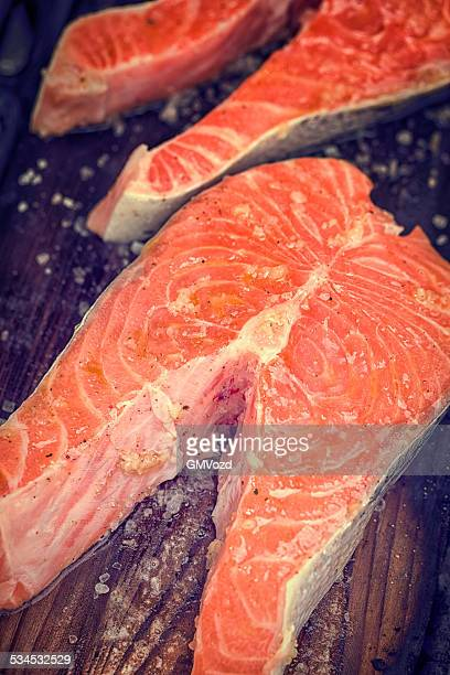 Fresh Grilled Salmon Steak with Seasalt