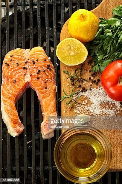 Fresh Grilled salmon steaks