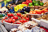 Fresh healthy bio fruits and vegetables on farmer agricultural market in France