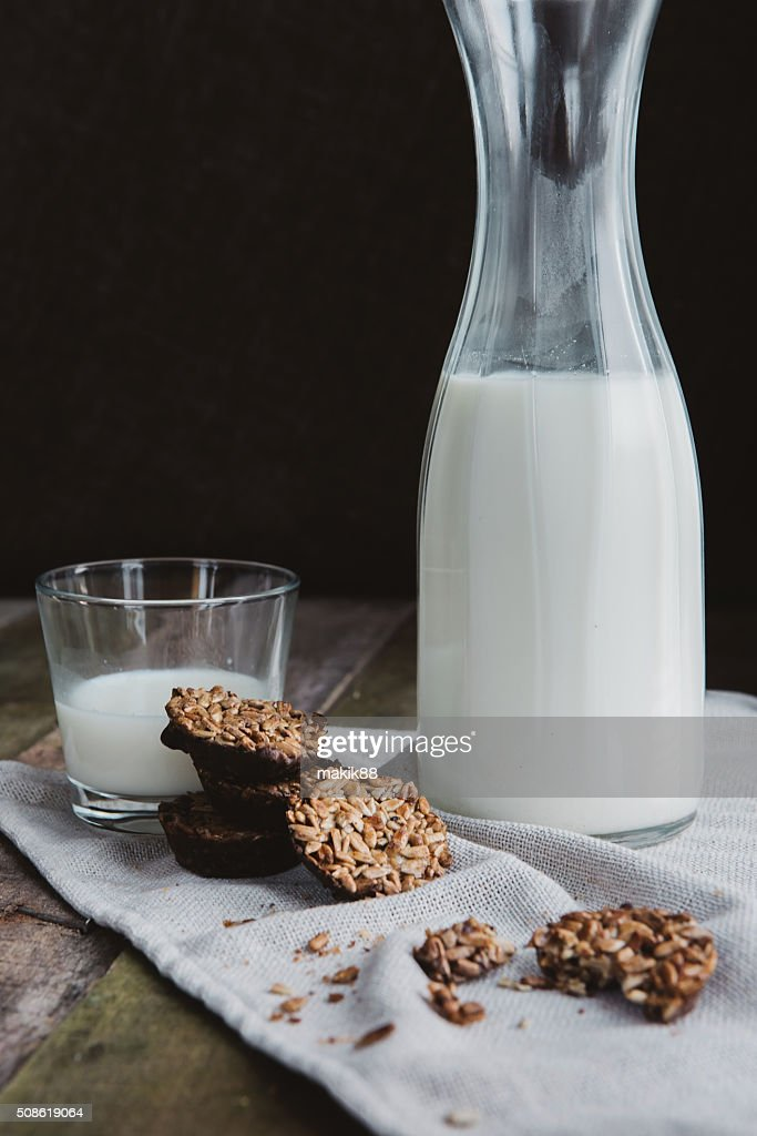 fresh healthy milk and cookies : Stock Photo