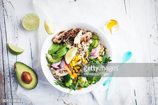 fresh Healthy Quinoa Bulgur bowl with vegetables and chicken : Stock Photo