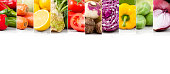 Section of fresh healthy vegetables on white background.