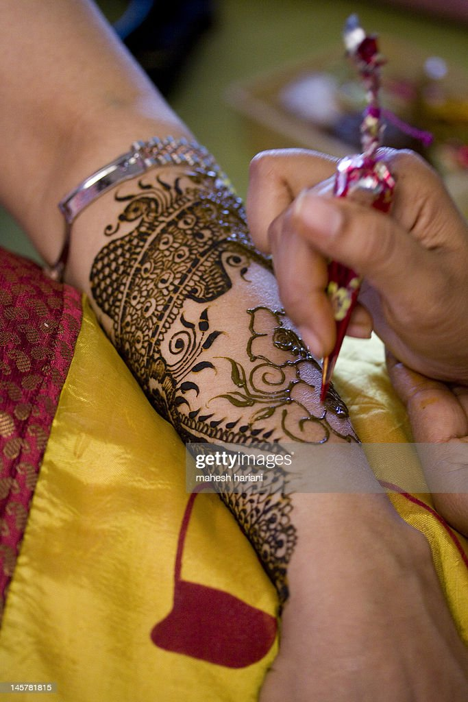 Fresh Henna Decoration Tattoo In Indian Wedding Stock Photo