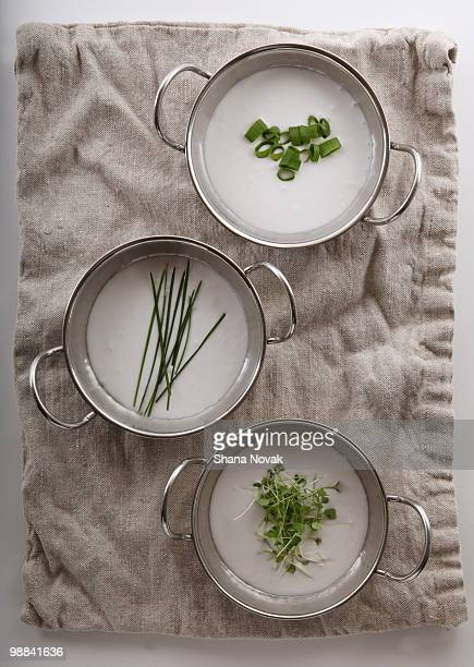Fresh herbs in Soup on a linen towel.