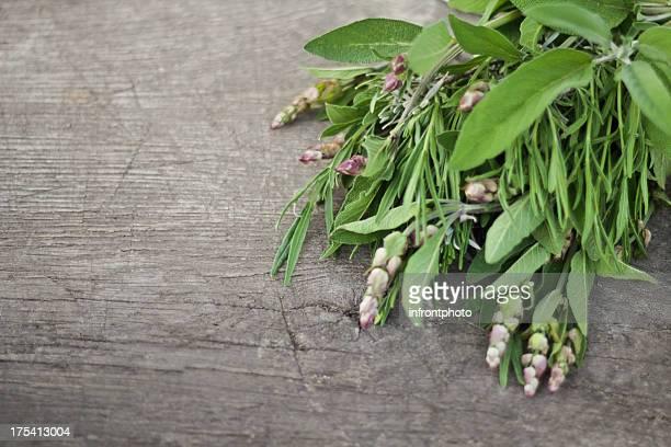 Herbes fraîches sur une vieille table en bois