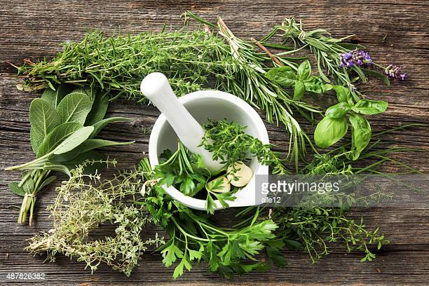 Fresh Herbs on Old Wood