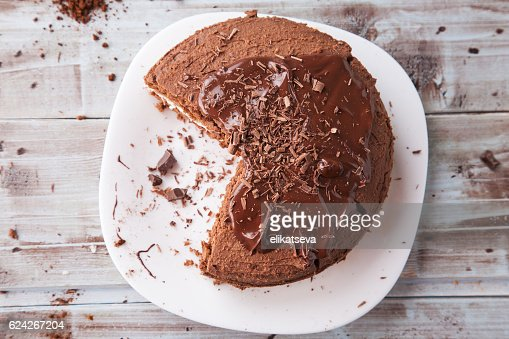 Fresh homemade chocolate cake with chocolate shavings : Stock Photo