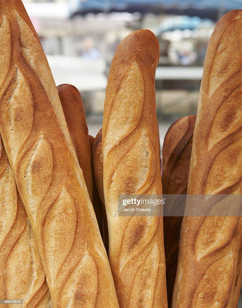 Fresh, hot baguettes : Stock Photo