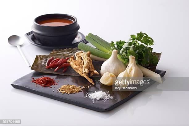 Fresh ingredients for Korean dish