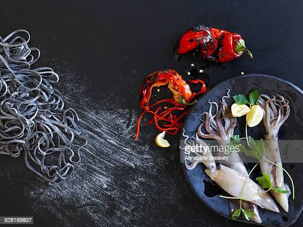 Fresh Ingredients for Squid Ink Pasta
