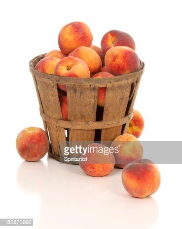 Fresh Juicy Peaches in a Rustic Farm Basket