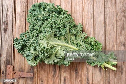 Fresh Kale on Weathered Door : Stock Photo