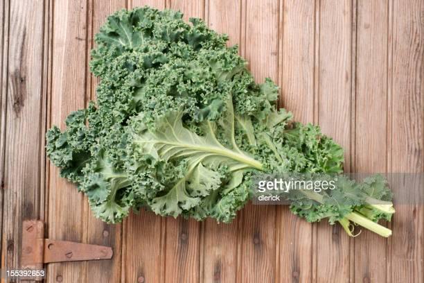 Fresh Kale on Weathered Door