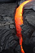 Fresh Lava exuding from the Big Island, Hawaii near Volcano National Park