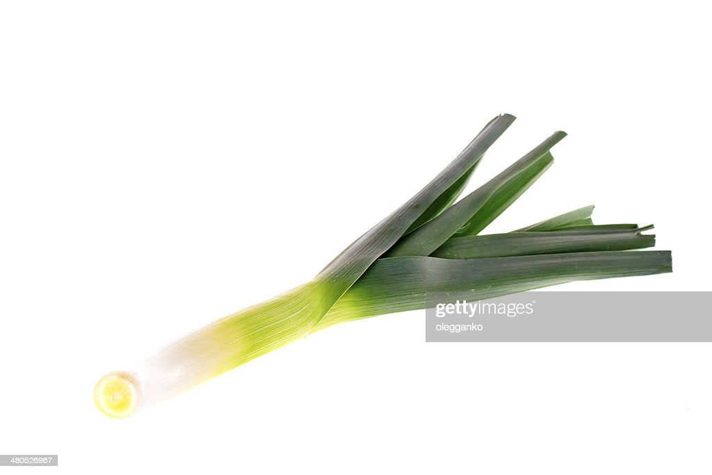 Fresh leek isolated on white : Stock Photo