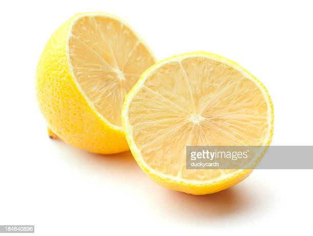 Fresh Lemon Halves Isolated on White