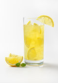 glass of fresh lemon juice with ice