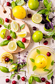 Flatlay Shot from Above Of Fresh Lemons, limes and Cherries.