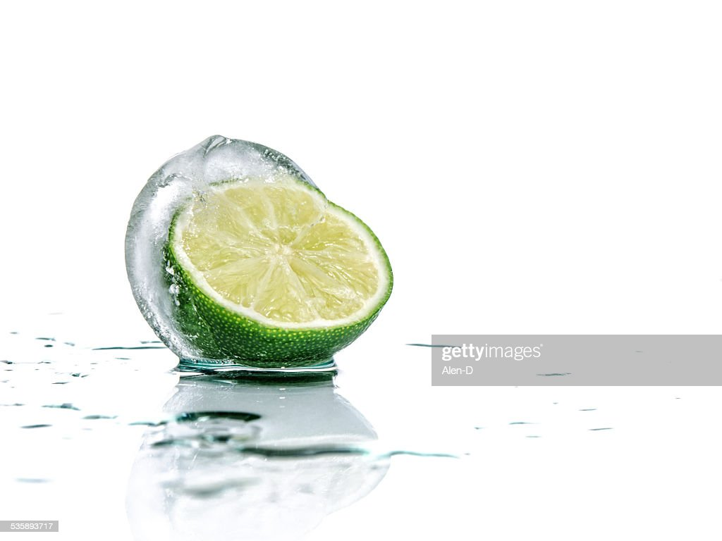 Fresh lime and slice with ice : Stock Photo